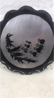 """Lot of 2 Round 12"""" Stamped & Etched Aluminum Trays"""