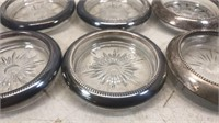 """Lot of 6 Vintage Glass Drink Coasters 3 1/2"""""""