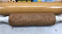 Lot of 3 Wood Rolling Pins + Candy Thermometer