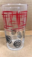 """Lot of 2 Mid-Mod Style Drinking Glasses 5"""" Tall 2"""