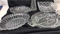 Lot of 5 Cut Glass Serving Bowls and Trays and