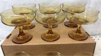 "Lot of 12 Amber Desert Glass Set 4"" tall 3 3/4"