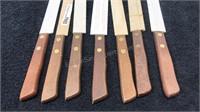 Lot of 7 Vintage Steak Knives Wooden Handle