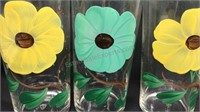 Lot of 9 Vintage Hand Painted Flowered Drinking