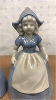 "Vintage Ceramic Dutch Boy and Girl Bells 5"" Tall"