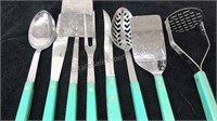 Vintage 8pc Set Flint Stainless Kitchen Utensils