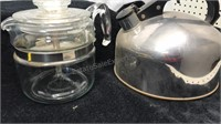 Pyrex Stove Top Coffee Maker and Steel Tea Kettle