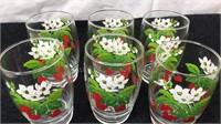 "Set of 6 Matching Strawberry Blossom 5"" Tall"