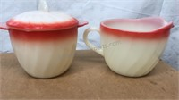 """Vintage Fire King Oven Ware 3 8"""" Plates & Cream"""