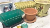 Lot of 5 Ceramic and Plastic Planters Plus 3