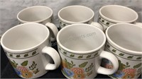 Set of 6 Ceramic Coffee Mugs Made in Korea Flower