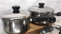 Lot of 4pcs Revere Ware Copper Clad Cookware with