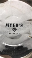 2 Vintage Ferndale and Royal Oak Glass Ashtrays