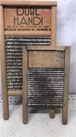 """Lot of 2 Vintage Wooden Washboards """"Little Pet &"""
