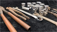 Lot of Misc Tools, sockets, clamp, wrenches,