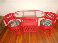 Red Wicker Glass Top Table with 2 Chairs