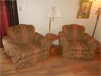 2) Arm Chairs and Wood Table Lamp