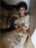 2) Porcelain Dolls with Doll Couch