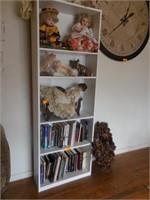 White Shelf and Books & DVD's on 2 Bottom Shelves,
