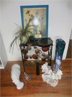 Decor:  Metal Table, Floral Painting, Miniatures