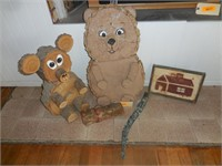 2) Wood Bears, Wood Picture, Hanging Wood Gnome