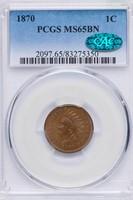 1C 1870 PCGS MS65 BN CAC