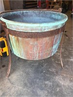 Large 28in Round Antique Copper Kettle