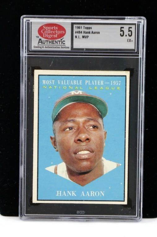 1961 Topps Hank Aaron Nl Mvp Baseball Card Graded Big Als