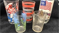Lot of 8 Vintage Drinking Glasses Various Designs