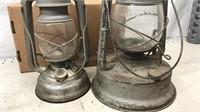 """Lot of 2 Vintage Oil Lanterns 11"""" & 12"""""""