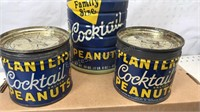 Vintage Planters Peanut Cans Lot of 3 with 6