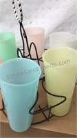 Vintage Plastic Drinking Glasses In Wire Carrier