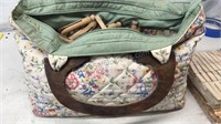 Vintage Cotton Bag with wood handles full of wood