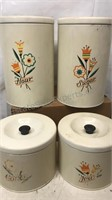 Vintage 4 Pc Set of Metal Kitchen Canisters 9x6