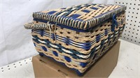 Vintage Woven Sewing Basket with Contents 12x7x6""