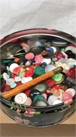 """Vintage 8x3"""" Tin of Buttons and Sewing Items"""