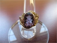 STERLING SILVER AMYTHEST RING SIZE 7.5