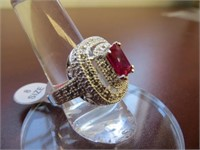 STERLING SILVER RUBY-SYN RING SIZE 8