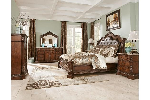 Ashley Ladelle King 5 Pc Marble Top Bedroom Suite Interstate Auction Company