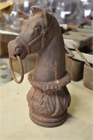 Cast iron horse hitching post