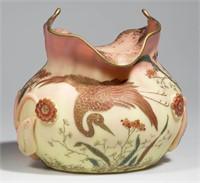 Fine Mt. Washington decorated Burmese vase