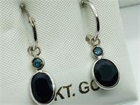 14K White Gold Sapphire(3.4ct) Blue Diamond