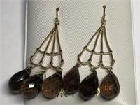 14KT Gold Smokey Quartz(approx 10.7ct) Earrings