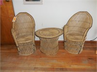 Childs Wicker Chair and Table Set