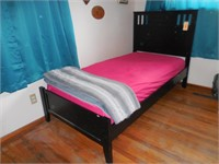 Black Framed Twin Bed with Mattress