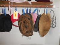 Contents of Closet: Ladies Hats, Stool, Metal Bag
