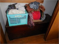 Contents of Bedroom Closet: Wood Chest, Scarves,