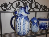 2) Blue & White Pitchers 2) Blue & White Canisters