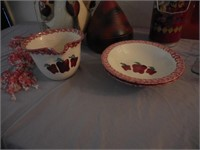 Red Pottery Vase, Plate, Bowl Set, Hanging Rooster