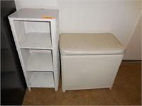 Wicker Hamper, Small White Shelf